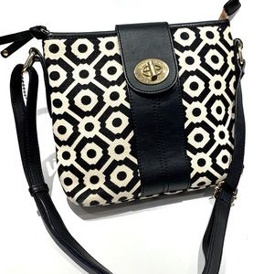 Spartina 449 linen and leather crossbody bag
